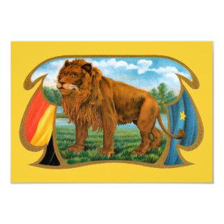 Vintage Cigar Label Art, African Lion in Savannah 3.5x5 Paper Invitation Card
