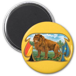 Vintage Cigar Label Art, African Lion in Savannah Magnet