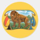 Vintage Cigar Label Art, African Lion in Savannah Classic Round Sticker