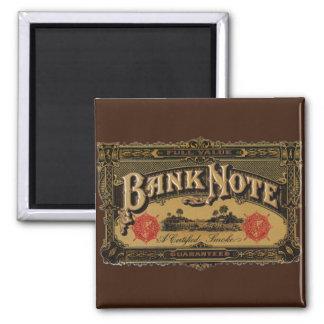 Vintage Cigar Label Art, Bank Note Finance 2 Inch Square Magnet