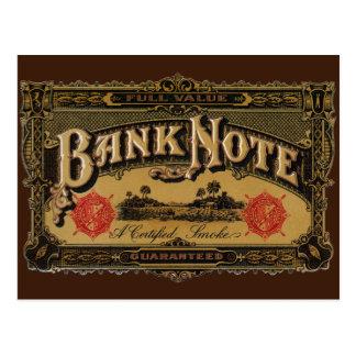 Vintage Cigar Label Art, Bank Note Finance Postcard