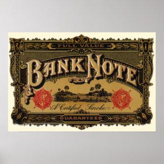 Vintage Cigar Label Art, Bank Note Finance Poster