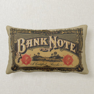 Vintage Cigar Label Art, Bank Note Finance Throw Pillow
