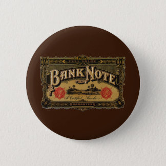 Vintage Cigar Label Art, Bank Note Money Finance Pinback Button