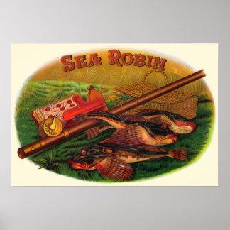 Vintage Cigar Label Art by Sea Robin, Fishing Gear Poster