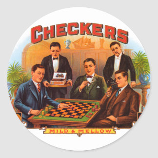 Vintage Cigar Label Art, Checkers Cigars Classic Round Sticker