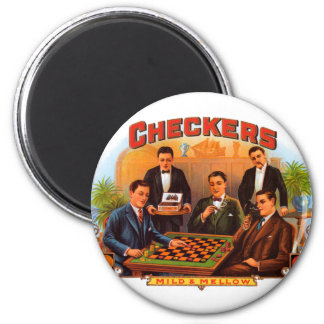 Vintage Cigar Label Art, Checkers Mild and Mellow Magnet