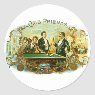 Vintage Cigar Label Art, Club Friends Billiards