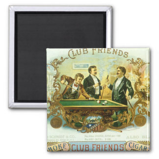 Vintage Cigar Label Art, Club Friends Billiards 2 Inch Square Magnet