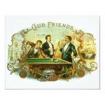 Vintage Cigar Label Art, Club Friends Billiards 4.25x5.5 Paper Invitation Card