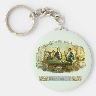 Vintage Cigar Label Art, Club Friends Billiards Basic Round Button Keychain