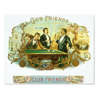 Vintage Cigar Label Art, Club Friends Billiards Card