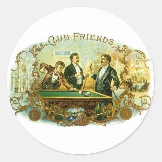 Vintage Cigar Label Art, Club Friends Billiards Classic Round Sticker