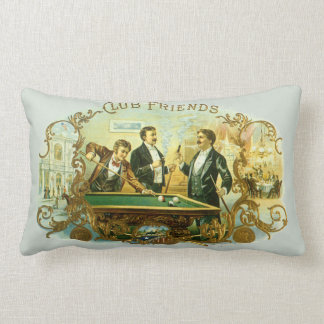 Vintage Cigar Label Art, Club Friends Billiards Lumbar Pillow