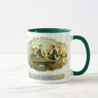 Vintage Cigar Label Art, Club Friends Billiards Mug