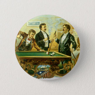 Vintage Cigar Label Art, Club Friends Billiards Pinback Button