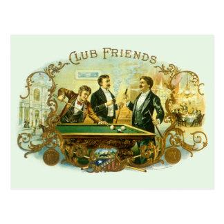 Vintage Cigar Label Art, Club Friends Billiards Postcard