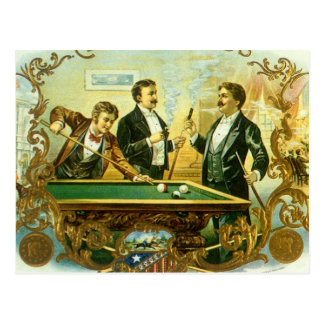 Vintage Cigar Label Art, Club Friends Billiards Postcard