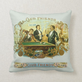 Vintage Cigar Label Art, Club Friends Billiards Throw Pillow