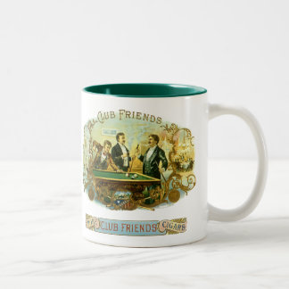 Vintage Cigar Label Art, Club Friends Billiards Two-Tone Coffee Mug