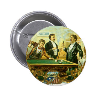 Vintage Cigar Label Art Club Friends Shooting Pool Button