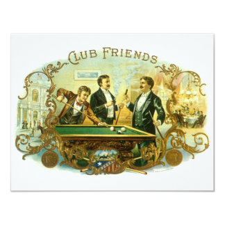 Vintage Cigar Label Art Club Friends Shooting Pool Announcement