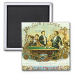 Vintage Cigar Label Art Club Friends Shooting Pool Magnets