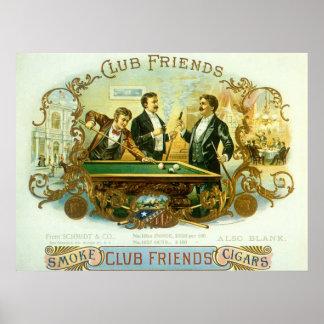 Vintage Cigar Label Art Club Friends Shooting Pool Posters