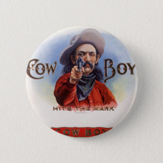 Vintage Cigar Label Art, Cowboy Hits the Mark Button
