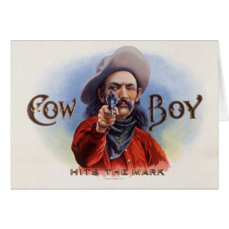 Vintage Cigar Label Art, Cowboy Hits the Mark Card