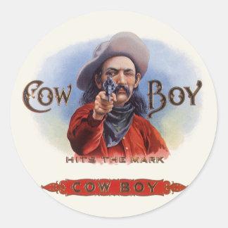Vintage Cigar Label Art, Cowboy Hits the Mark Classic Round Sticker
