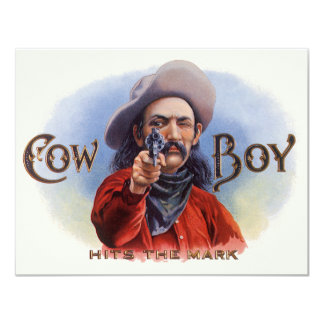 Vintage Cigar Label Art, Cowboy Hits the Mark Invitation
