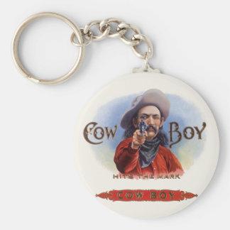 Vintage Cigar Label Art, Cowboy Hits the Mark Keychain
