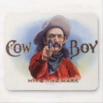 Vintage Cigar Label Art, Cowboy Hits the Mark Mouse Pad
