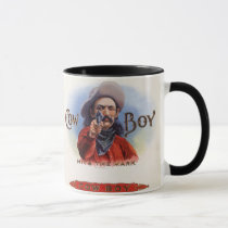 Vintage Cigar Label Art, Cowboy Hits the Mark Mug