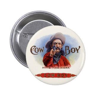 Vintage Cigar Label Art, Cowboy Hits the Mark Pinback Button
