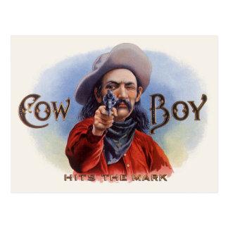 Vintage Cigar Label Art, Cowboy Hits the Mark Postcard