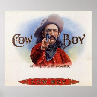 Vintage Cigar Label Art, Cowboy Hits the Mark Poster