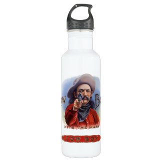 Vintage Cigar Label Art, Cowboy Hits the Mark Stainless Steel Water Bottle