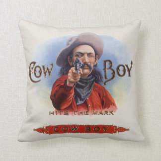 Vintage Cigar Label Art, Cowboy Hits the Mark Throw Pillow