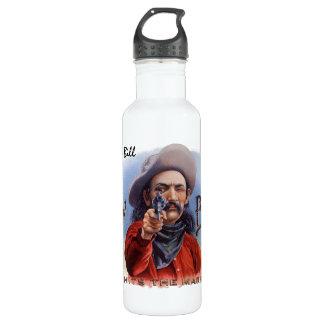 Vintage Cigar Label Art, Cowboy Hits the Mark Water Bottle