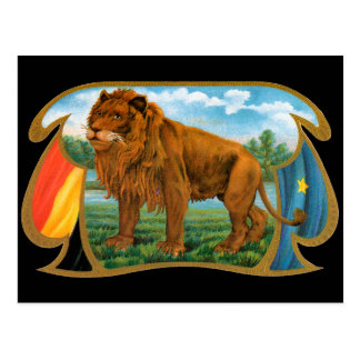 Vintage Cigar Label Art, King of the Jungle Lion Postcard