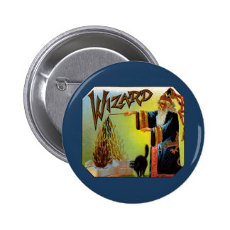 Vintage Cigar Label Art Magic Act, Wizard Cigars 2 Inch Round Button