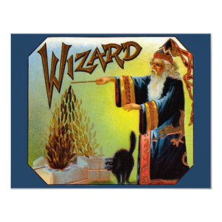 Vintage Cigar Label Art Magic Act, Wizard with Cat Card