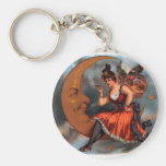 Vintage Cigar Label Art, Moon with Victorian Fairy Keychains