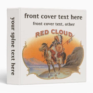 Vintage Cigar Label Art, Red cloud Indian on Horse 3 Ring Binder