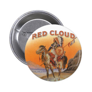 Vintage Cigar Label Art, Red cloud Indian on Horse Button