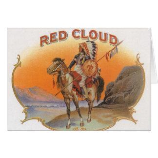 Vintage Cigar Label Art, Red cloud Indian on Horse Card