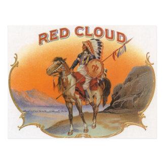 Vintage Cigar Label Art, Red cloud Indian on Horse Postcard