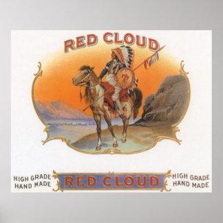 Vintage Cigar Label Art, Red cloud Indian on Horse Poster
